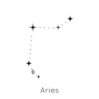 Sinal de constelação do zodíaco, símbolo do horóscopo astrológico de áries no vetor de fundo branco i