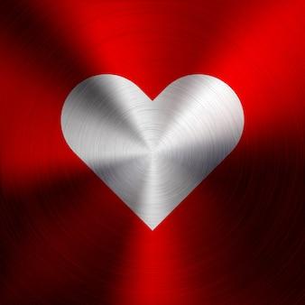 Sinal de coração abstrato vermelho na textura de metal