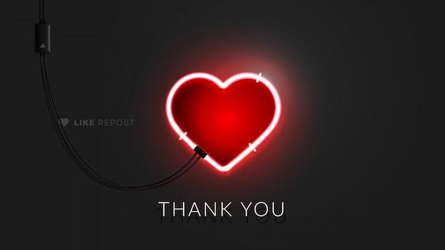Sinal de coração de néon 3d.