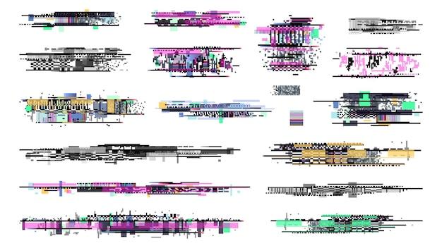 Sinal de deterioração. gráficos de falha, coleção de sinal de ruído de tv. erro de televisão de pixel retro, danos ao vídeo na tela. fundo de bug do techno, desintegração do grunge em ilustração vetorial de exibição