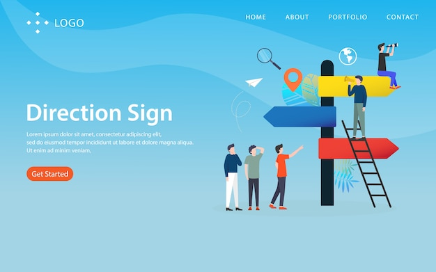Sinal de direção, modelo de site, em camadas, fácil de editar e personalizar, conceito de ilustração