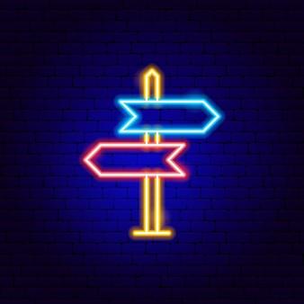 Sinal de direção sinal de néon. ilustração em vetor de promoção de navegação.