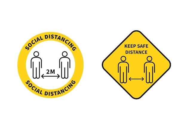 Sinal de distanciamento social mantenha a distância de 12 metros