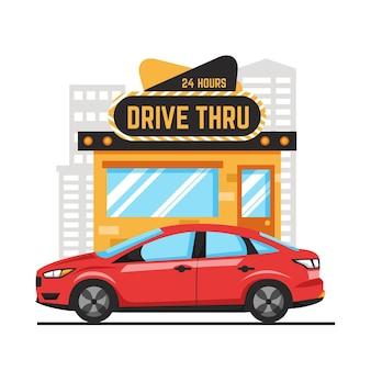 Sinal de drive thru ilustrado