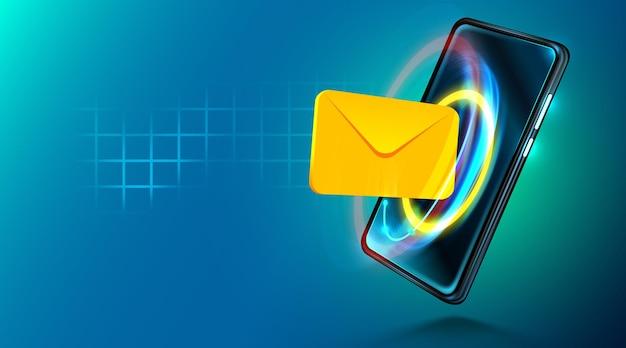 Sinal de e-mail de tecnologia móvel digital comunicação pela internet de mala direta móvel
