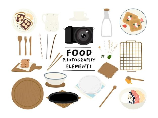 Sinal de elementos de kit de fotografia de comida estilosa
