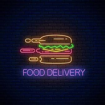 Sinal de entrega de comida de néon brilhante com hambúrguer apressado no fundo da parede de tijolo escuro. símbolo de entrega rápida em estilo neon. ilustração do conceito de fast food. vetor.