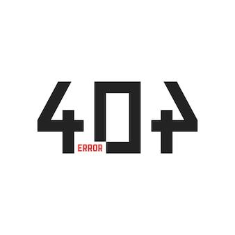Sinal de erro 404 simples. conceito de falha técnica, aviso de perigo, página em construção, código de resposta http. isolado no fundo branco. ilustração em vetor design de logotipo moderno tendência estilo simples