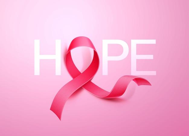 Sinal de esperança com fita projeto de conscientização do câncer de mama com fita rosa realista