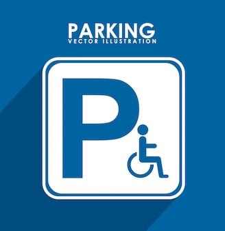 Sinal de estacionamento sobre ilustração vetorial de fundo azul
