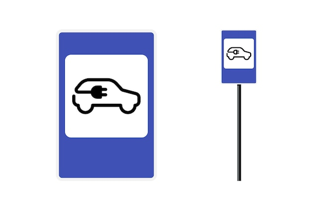 Sinal de estrada da estação de carregamento de carro elétrico. eco amigável ambiente limpo estacionamento de veículos e ícone de lugar do carregador de bateria. quadrado padrão azul com símbolo de vetor de carga de transporte ecológico isolado