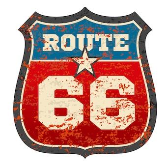 Sinal de estrada rota vintage 66