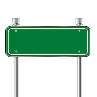 Sinal de estrada verde de tráfego em branco