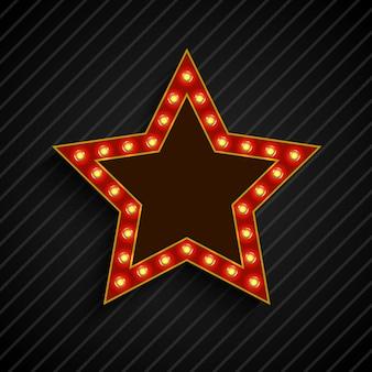 Sinal de estrela de banner de billboard de lâmpada na