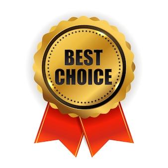 Sinal de etiqueta de qualidade dourada de melhor escolha Vetor Premium