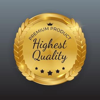 Sinal de etiqueta dourada da mais alta qualidade
