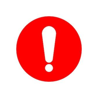 Sinal de exclamação branco em círculo vermelho isolado no fundo branco