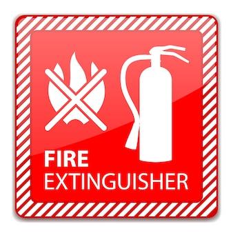 Sinal de extintor vermelho isolado