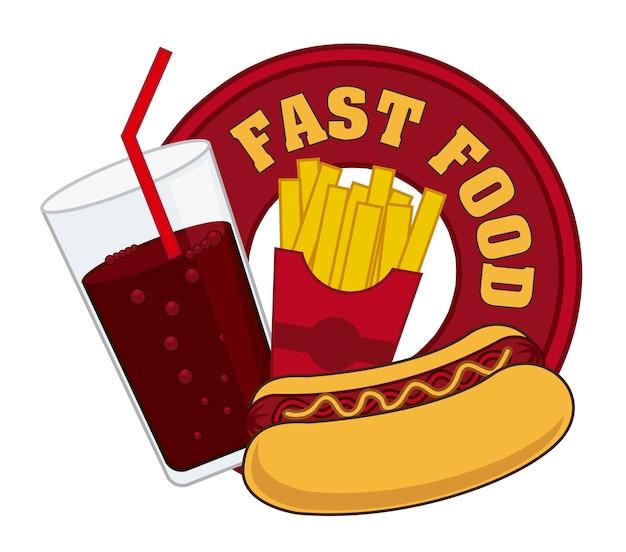 Sinal de fast-food sobre ilustração vetorial de fundo branco