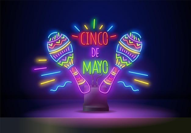 Sinal de feriado de festa de néon brilhante no fundo da parede escura. design de folheto festival mexicano com maracas. ilustração vetorial.