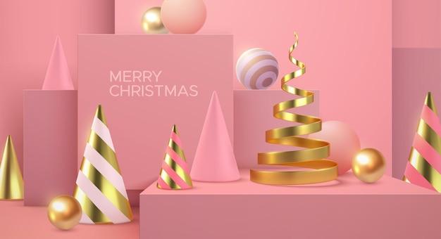 Sinal de feriado do feliz natal com formas abstratas em 3d em um fundo rosa suave e minimalista.