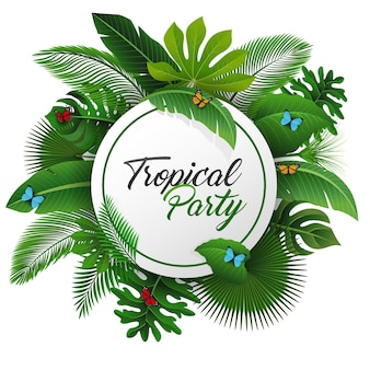 Sinal de festa tropical Vetor Premium