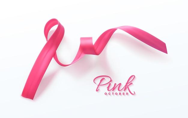 Sinal de fita rosa de conscientização do câncer de mama do conceito de saúde feminina