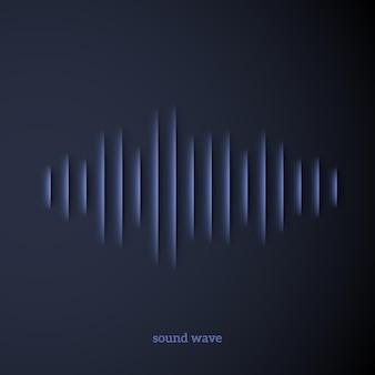 Sinal de forma de onda de som cortado em papel com sombra