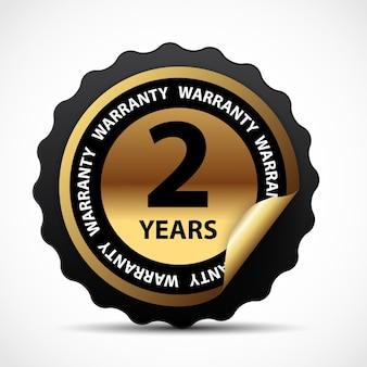 Sinal de garantia ouro, etiqueta de garantia de 2 anos