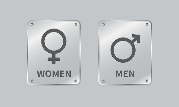 Sinal de gênero masculino e feminino placa de vidro forma quadrada isolada em fundo cinza