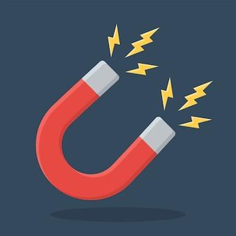 Sinal de ímã em ferradura vermelha. magnetismo, magnetização, conceito de atração.
