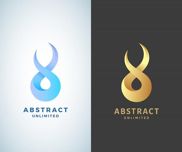 Sinal de infinito abstrato, emblema ou logotipo modelo. dourado sobre um fundo escuro e versões modernas isoladas de gradiente