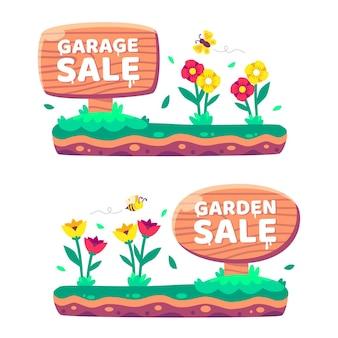Sinal de jardim de desenho animado
