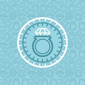 Sinal de joias de vetor e emblema no estilo de estrutura de tópicos
