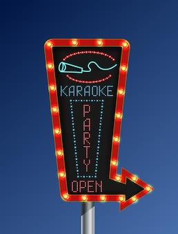Sinal de karaoke retrô seta sinal de luz