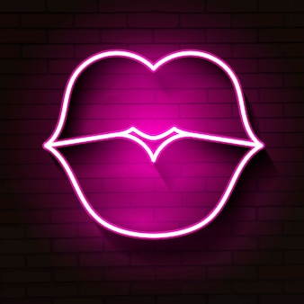 Sinal de lábios de néon