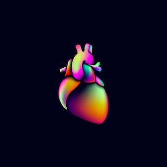 Sinal de logotipo colorido medicina vibrante cor coração forma. projeto futurista holográfico brilhante de néon fluido gradiente iridescente de coração humano anatômico. ilustração de renderização 3d plástica geométrica redonda