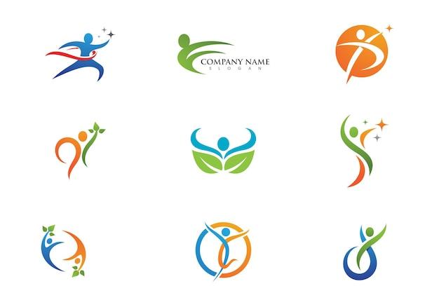 Sinal de logotipo de caráter humano sinal de logotipo de cuidados de saúde.