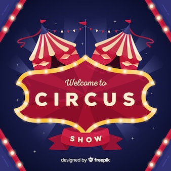 Sinal de luz de circo vintage