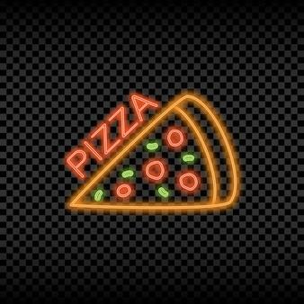 Sinal de luz de néon da pizzaria tabuleta brilhante e brilhante com o logotipo da pizzaria