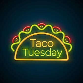 Sinal de luz de neon tradicional taco terça-feira refeição