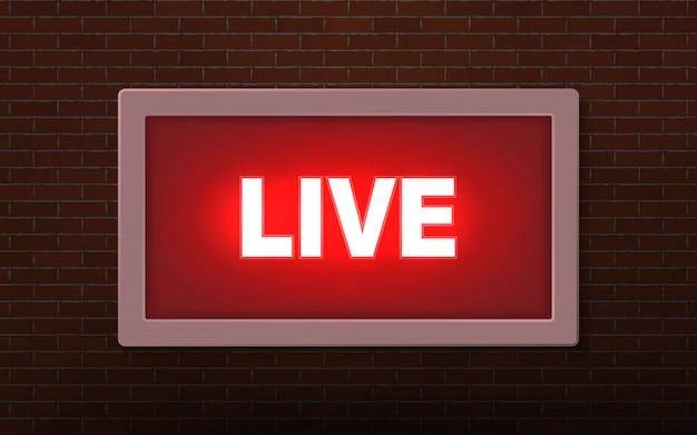 Sinal de luz de transmissão de estúdio ao vivo