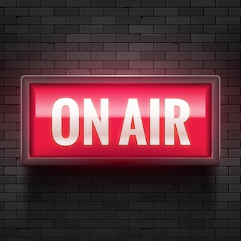 Sinal de luz do estúdio on air. sinal de alerta de transmissão de mídia. atenção recorde de produção de placa ao vivo.