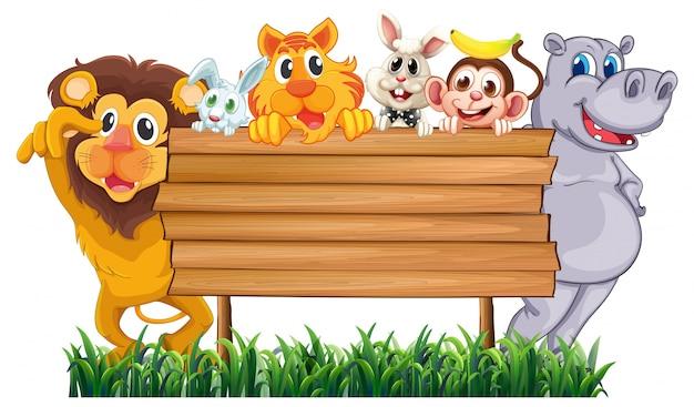 Sinal de madeira com muitos animais