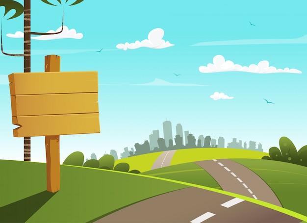Sinal de madeira da vila e cidade à distância no horizonte.