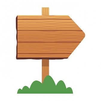 Sinal de madeira e bush ícone dos desenhos animados