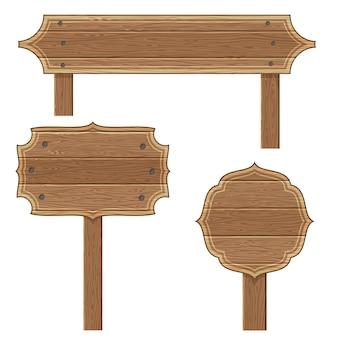 Sinal de madeira em branco conjunto isolado