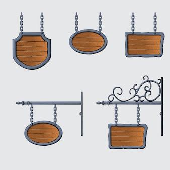 Sinal de madeira medieval