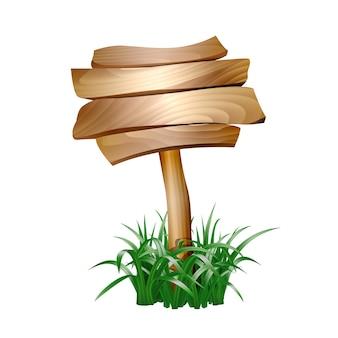 Sinal de madeira na grama isolada no fundo branco. ilustração vetorial