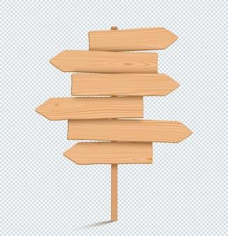 Sinal de madeira post liso vazio 3d seta de direção
